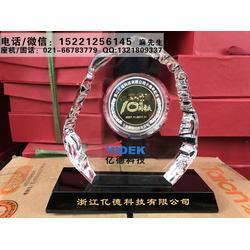 上海市厂家定做企业年会表彰纪念品,单位优秀员工纪念礼品,十年老员工表彰水晶奖牌定制图片