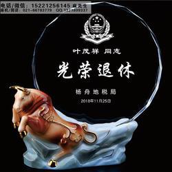 宁波现货水晶陶瓷奖牌、企业品牌授权牌、员工入职退休感谢礼品定制图片