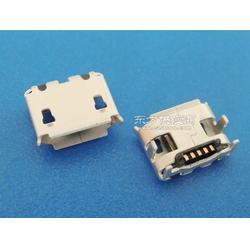 MICRO USB牛角6.6mm四脚插板5P-B型牛角6.67.2有柱有卷边 雾锡图片
