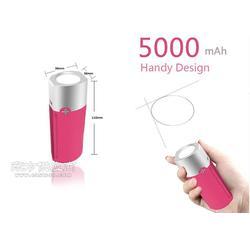 私模5000毫安带强光手电筒移动电源图片