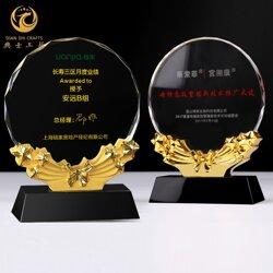 水晶经销商奖牌,代理商授权牌制作,水晶麦穗蝴蝶结标示牌图片
