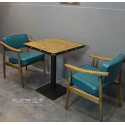 美式正方形餐桌椅组合实木铁艺四方桌子复古餐厅家具工业风图片