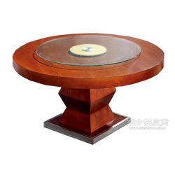 众美德定制全水曲柳实木餐桌带转盘圆形餐桌图片