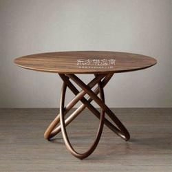 定制 美式铁艺餐厅大圆桌圆形复古实木咖啡餐桌图片