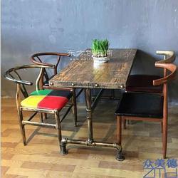 北欧时尚咖啡厅桌椅西餐厅桌椅甜品奶茶连锁餐饮店实木餐桌图片