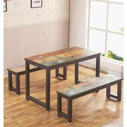 loft复古铁艺实木做旧长方形餐桌餐厅餐桌咖啡桌图片