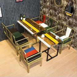 时尚复古工业风主题餐厅餐桌椅铁艺水管餐桌定制火锅店餐桌图片