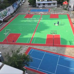 幼儿园操场活动场地悬浮式拼装地板彩色拼图塑胶地面篮球场羽毛球场拼装塑胶地板图片