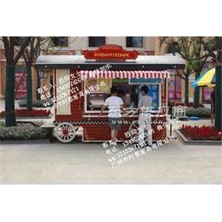 广场防腐木贩卖亭 公园流动售货车 步行街定制实木售货亭图片