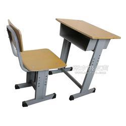 双人学生升降钢木课桌椅塑钢培训桌椅图片