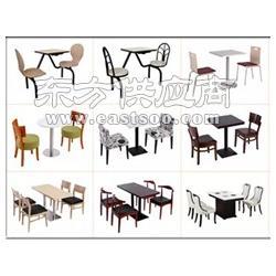 古镇食堂连体餐桌椅,食堂分体餐桌椅,汉堡店桌椅,奶茶店桌椅卡座沙发桌椅组合图片