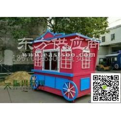 公园防腐木售货车 大型景观售货车 实木食品售货车图片