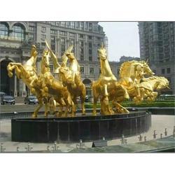 铜雕厂家_朝阳铜马雕塑_公园铜马雕塑制作图片