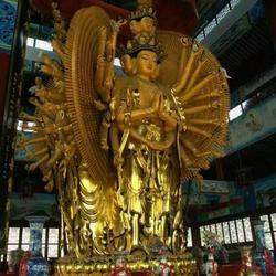 陕西菩萨铜佛像、天顺雕塑、贴金彩绘坐观音菩萨铜佛像图片
