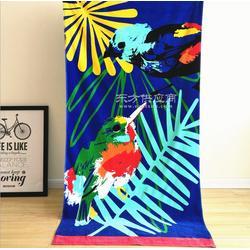 迎春雨 纯棉割绒活性印花沙滩巾 蓝底翠鸟花色 外贸原单沙滩巾图片