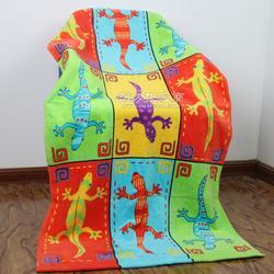 热销外贸原单出口纯棉沙滩巾 割绒活性印花沙滩浴巾 环保毛巾图片