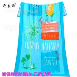 外贸印花浴巾纯棉活性印花沙滩巾 迎春雨沙滩巾印花定制图片