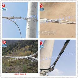 抱箍架设ADSS自承缆式,耐张线夹,悬垂线夹需要用抱箍固定在水泥杆上图片