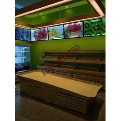 顺德水果钢木质三层水果店货架进口水果店货架定做日用品单双面展示柜厂家图片