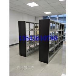 图书馆六托六层钢制木质转印护板书架柜式期刊架复柱双面木护板书架定做厂家图片