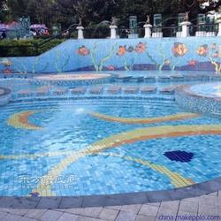 游泳池装修工程首选拼图马赛克瓷砖图片