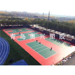 硅PU球场、奥兴塑胶铺装(在线咨询)、环保硅PU球场图片