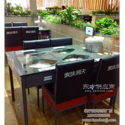 毛家饭店带抽屉餐桌多功能饭台铁制玻璃餐桌 餐厅家具定制图片