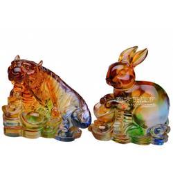 经济寓意好精美装饰 送财兔 发财兔礼品 琉璃兔子摆件 琉璃工艺品图片