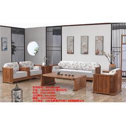 木言木语 高端定制 品牌环保实木沙发 新中式实木沙发图片