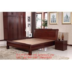 木言木语中式实木双人床 黄菠萝木卧室实木双人床 简约实木双人床图片
