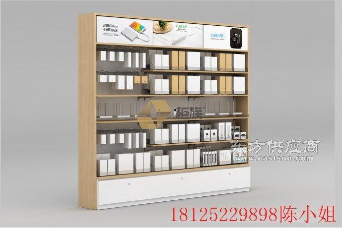 大型小米靠墙展示柜,木纹色小米家具制作厂家图片