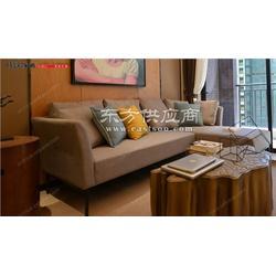 现代极简三人位沙发新中式布艺三人位沙发转角布艺沙发时欧供图片