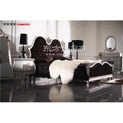 简欧新古典全实木大床华丽软包银箔实木床布艺雕花实木大床时欧供图片