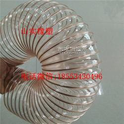 供应PU铜丝吸尘管DN140mm透明柔软可伸缩钢丝管抗冻耐磨耐高温聚氨酯风管图片