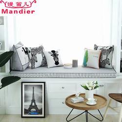 飘窗垫订做 亚麻-飘窗垫-漫笛儿图片
