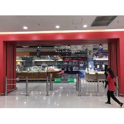 鑫翼通圆柱超市感应门,超市入口感应门安装图片