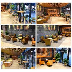 咖啡厅单人沙发小圆桌咖啡厅吧桌椅定做厂家图片
