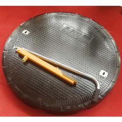 加油站圆形树脂井盖D977 整体厚度9公分 防水密闭井盖承重型图片