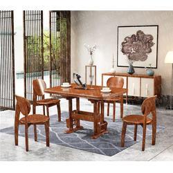 中式橡胶木餐桌品牌加盟 瑞升餐桌椅厂家直销 橡胶木餐桌图片