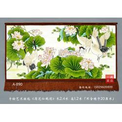 中式风格复古家居装饰品手绘艺术挂毯壁毯装饰画荷花仙鹤图吸音材质家庭软装壁毯画图片