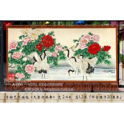 订制中国画天香迎鹤舞客厅装饰壁挂毯画中式家居装饰壁挂毯手绘艺术挂毯图片