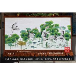 订制中式风格家居装饰壁挂毯荷花仙鹤图客厅室内装饰壁毯画图片