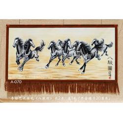 订制国画水墨画八骏图奔马图手绘艺术挂毯客厅中式家居装饰壁毯画吸音材质挂毯图片