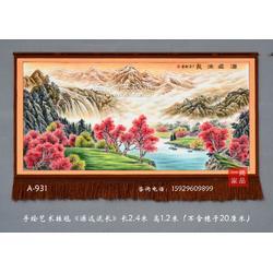 订制大型国画源远流长图客厅装饰壁挂毯会议室客厅别墅中式装修风格元素图片