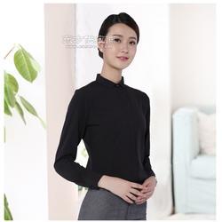 2018新款时尚修身珠宝店工作服女式衬衫批量定制图片