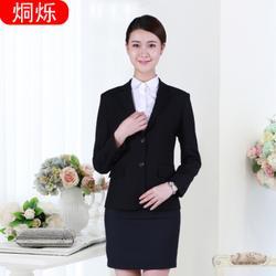 烔爍工作服女士長袖修身免燙職業西裙套裝小西裝定制圖片