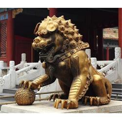 雌雄铜狮子一对_白山铜狮子_博轩铜雕塑批发
