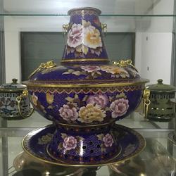 直径30cm景泰蓝火锅传统木炭火锅紫铜火锅图片