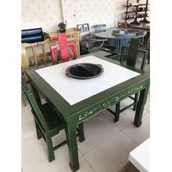 火锅店餐桌 圆火锅桌椅图片