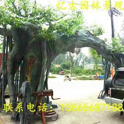 供应假树大门厂家 假树生态园大门公司 水泥生态园假树大门设计图片